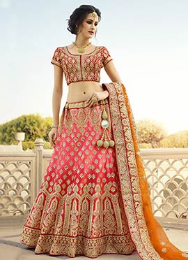 Pink Embroidered Ombre Lehenga Choli