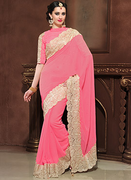 Pink Embroidered Scalloped Border Saree