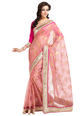Pink Embroidered Tissue Saree