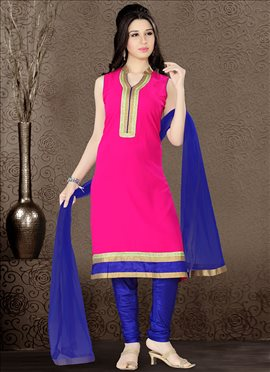 Pink Georgette Churidar Suit.