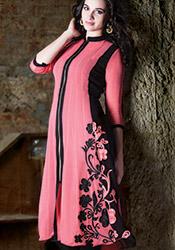 Pink Georgette Long Kurti