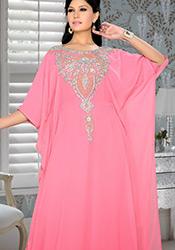 Pink Georgette Plus Size Kaftan Dress