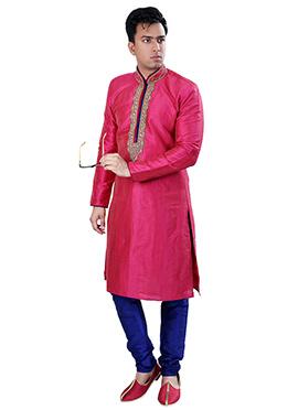 Pink Gicha Silk Kurta Pyjama