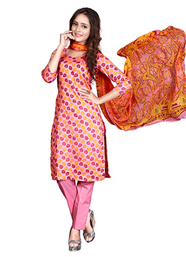 Pink Glace Cotton Straight Pant Suit