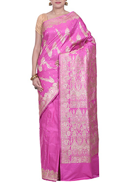 Pink Handloom Silk Zari Weaving Saree