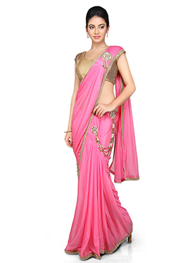 Pink Lycra Ready Pleated Saree