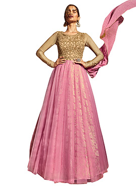 Pink N Beige Anarkali Suit