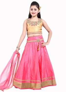Pink N Beige Art Silk A Line Lehenga Choli