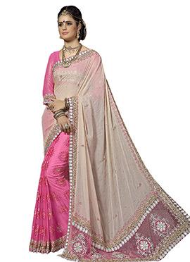 Pink N Beige Half N Half Saree