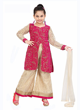 Pink N Beige Kids Churidar Suit