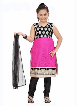 Pink N Black Kids Anarkali