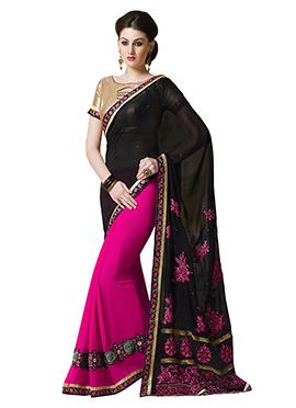 Pink N Black Half N Half Saree