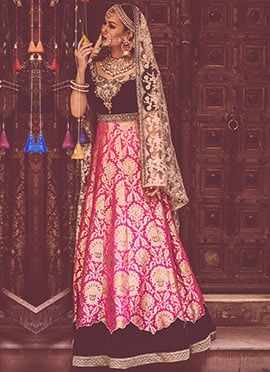 Pink N Navy Blue Megha And Jigar Anarkali Suit