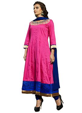 Pink N Blue Anarkali Suit