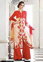 Pink N Cream Georgette Palazzo Suit