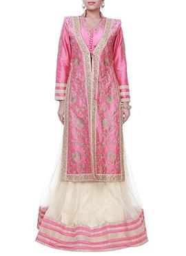 Pink N Cream Raw Silk N Net Long Choli Lehenga