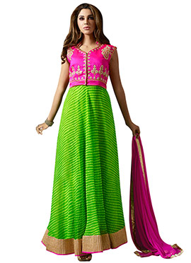 Pink N Green Art Silk Anarkali Suit