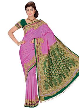 Pink N Green Pure Silk Floral Designed Saree