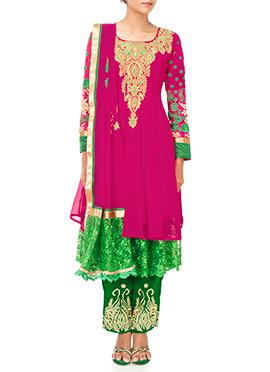 PRDP Inspired Pink N Green Straight Pant Suit