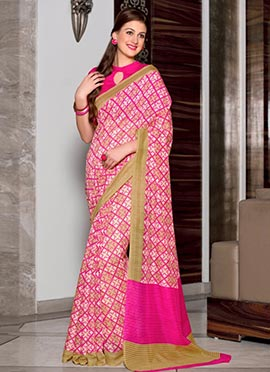 Pink N Off White Cotton Printed Saree