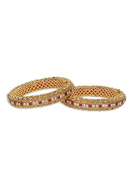 Pink N Off White Stone Gold Plated Bangles