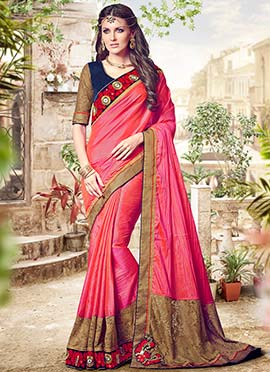 Pink N Orange Dual Toned Silk Border Saree