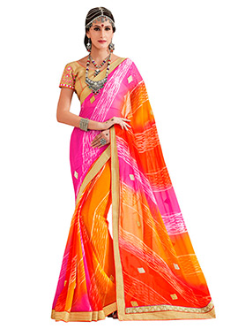 Pink N Orange Ombre Bandhini Pattern Saree