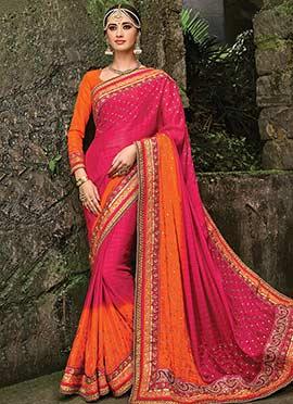 Pink N Orange Pure Chiffon Saree