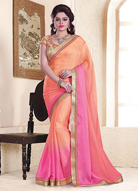 Pink N Peach Embroidered  Saree