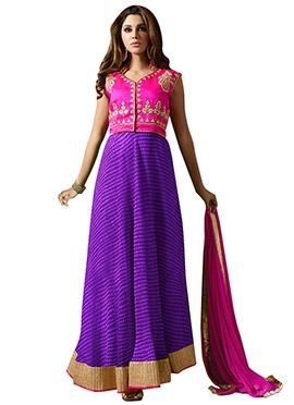 Pink N Purple Art Silk Anarkali Suit