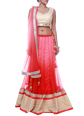 Pink N Red Ombre Dyed A Line Lehenga Choli