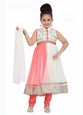 Pink N White Kids Anarkali
