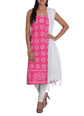 Pink N White Cotton Printed Churidar Suit