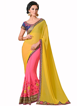 Pink N Yellow Half N Half Saree