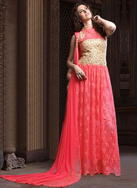 Pink Net Anarkali Gown