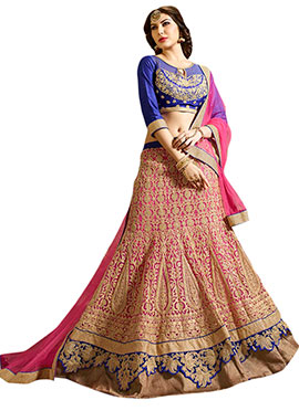 Pink Net Embroidered A-Line Lehenga Choli