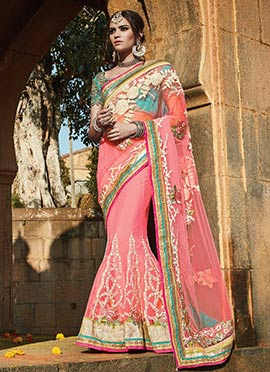 Pink Net Embroidered Lehenga Saree