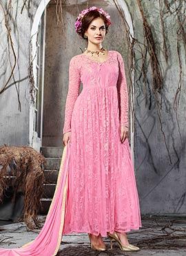 Pink Net Floral Anarkali Suit