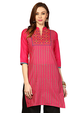 Pink Polyester Ethnic Kurti from Home India