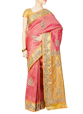 Pink Pure Brocade Silk Saree