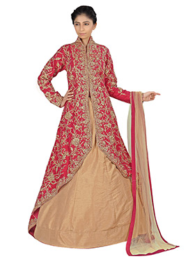 Pink Raw Silk Long Choli Lehenga