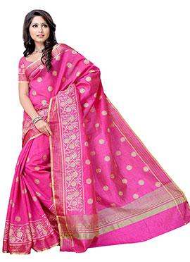 Pink Resham Embroidered Saree