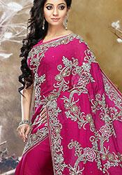 Pink Satin Stone Embellished Saree
