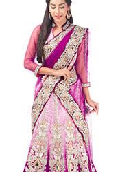 Pink Shaded Velvet A Line Lehenga Choli