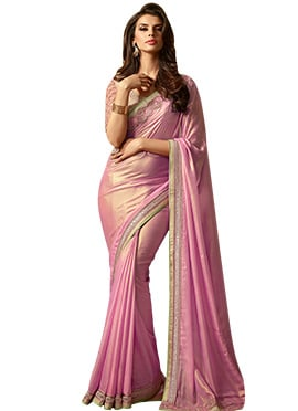 Pink Shimmer Georgette Border Saree
