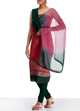 Pink Silk Cotton Churidar Suit