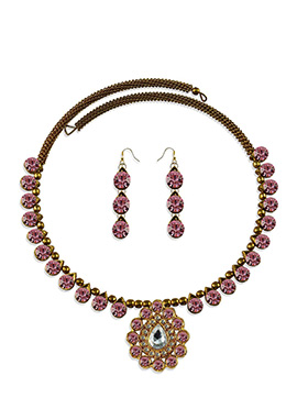 Pink Stone Adorned Choker Necklace Set