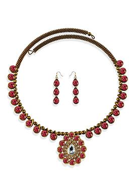 Pink Stone Beautified Choker Necklace Set