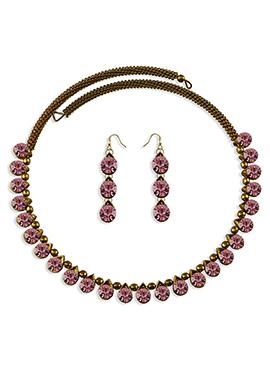 Pink Stone Embellished Choker Necklace Set