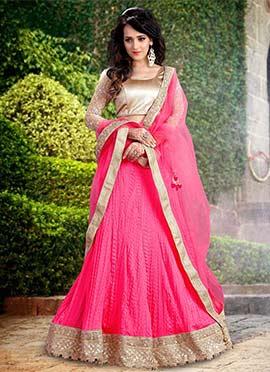 Pink Tussar Silk A Line Lehenga Choli